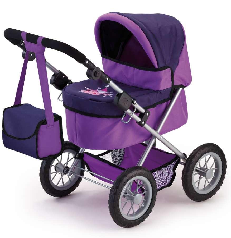 Hluboký kočárek pro panenky fialová