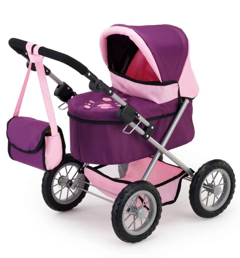 Hluboký kočárek pro panenky fialová růžová