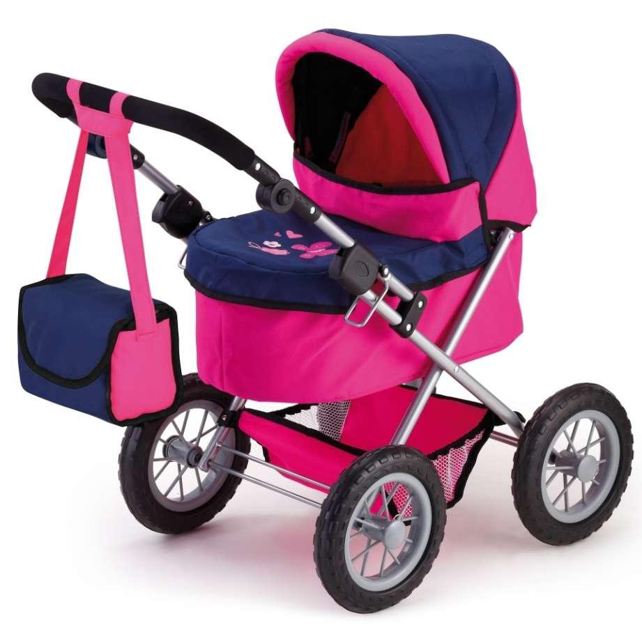 Hluboký kočárek pro panenky růžová modrá