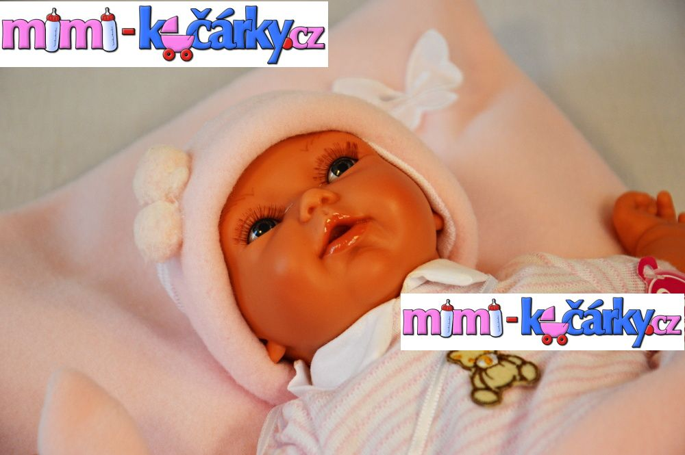 Mluvící panenka jako živá Antonio Juan Pekess holčička 29 cm s polštářkem