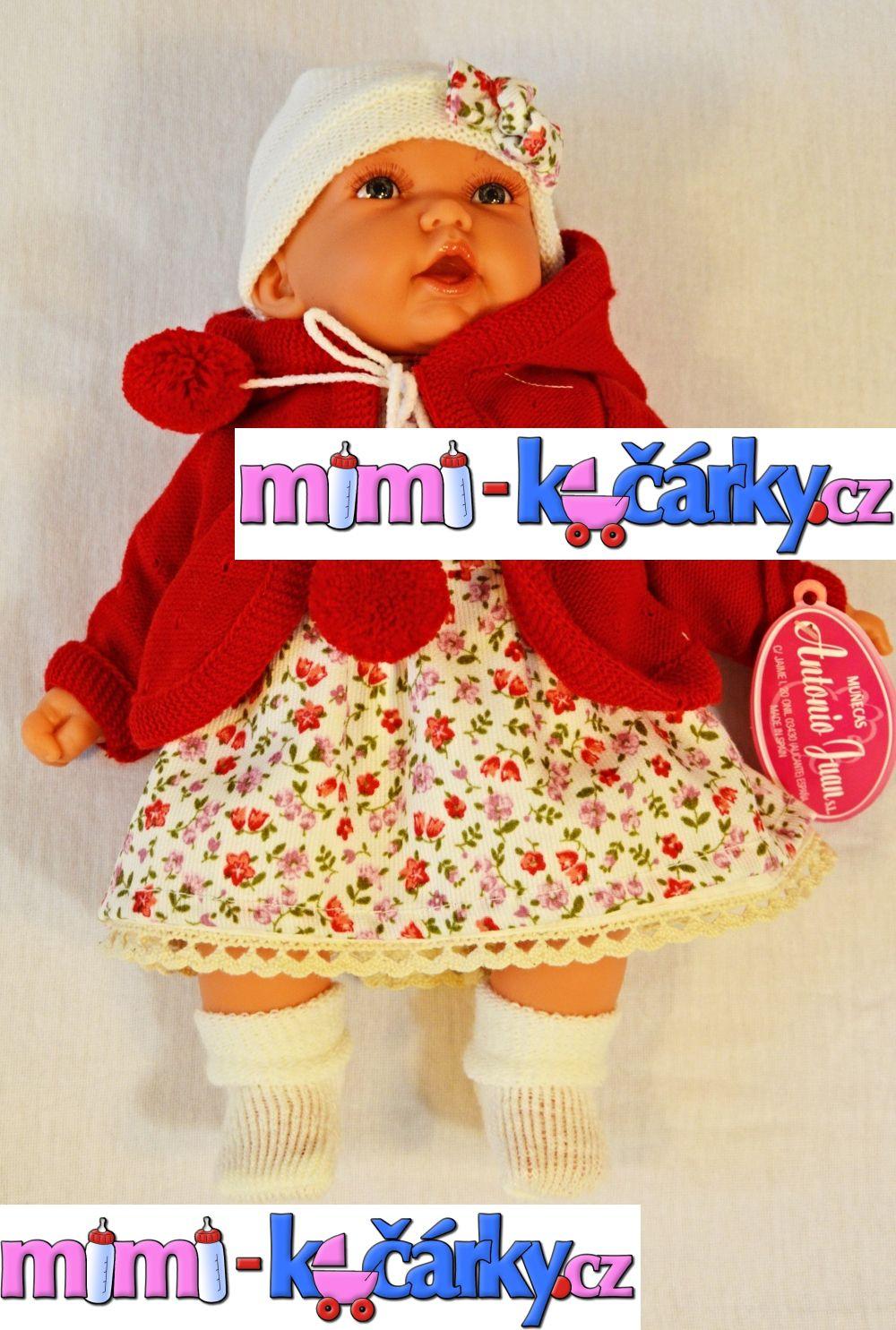 Mluvící realistická panenka Antonio Juan Petty 27 cm holčička v červeném svetříku