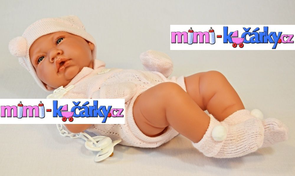 Realistické miminko Antonio Juan Toquilla holčička s dečkou 42 cm