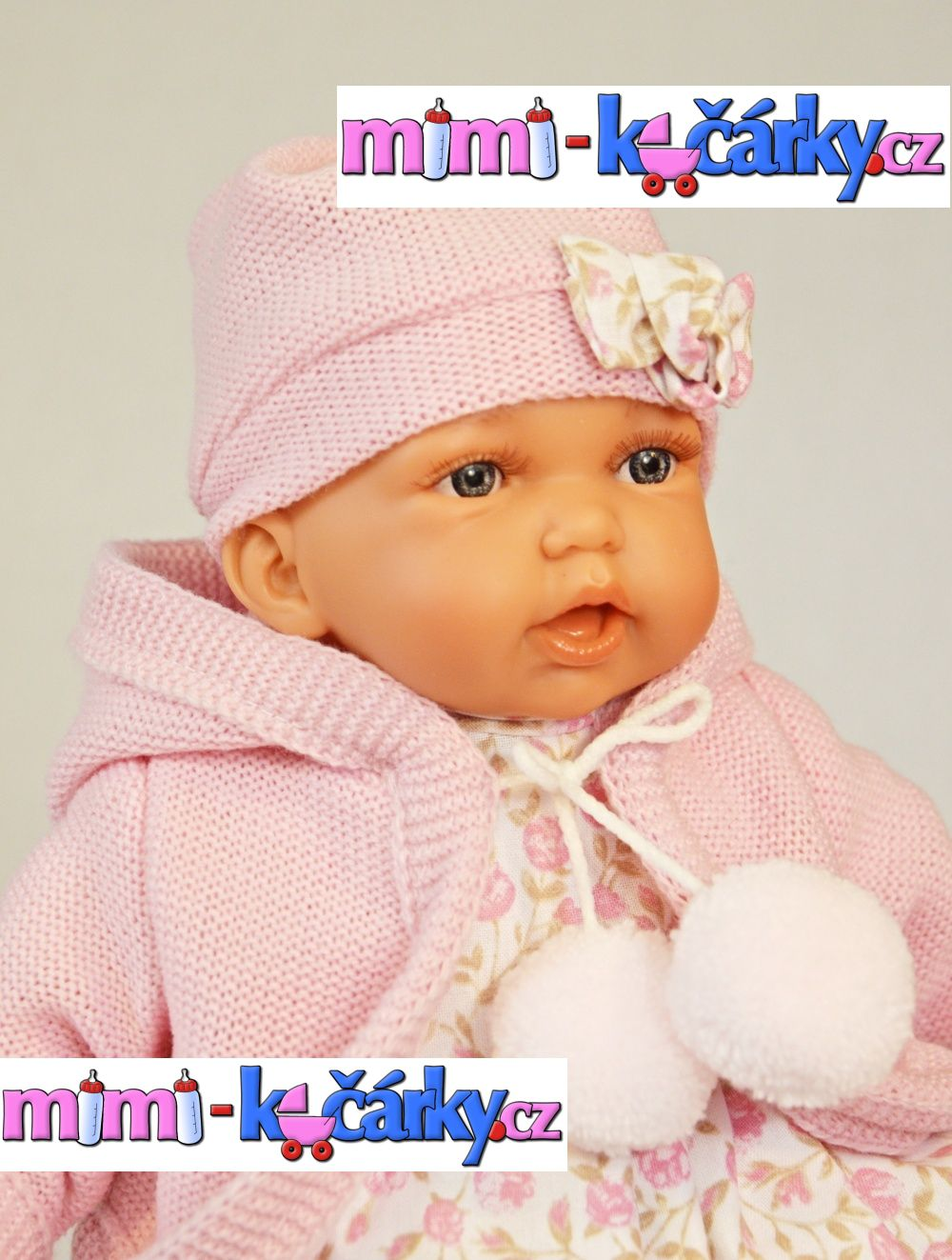 Mluvící panenka Antonio Juan Petty 27 cm holčička v růžové svetříku