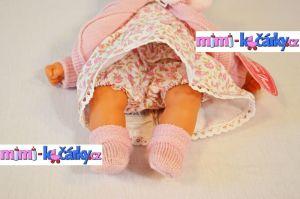 Mluvící realistická panenka Antonio Juan Petty 27 cm holčička v růžové svetříku - detail