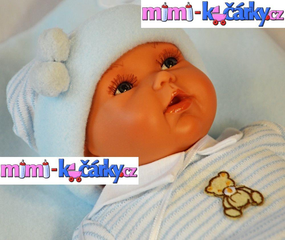 Mluvící panenka jako živá Antonio Juan Pekess chlapec 29 cm s polštářkem