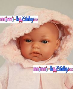 Realistická panenka jako živá Antonio Juan Toneta 34 cm holčička v kapuci