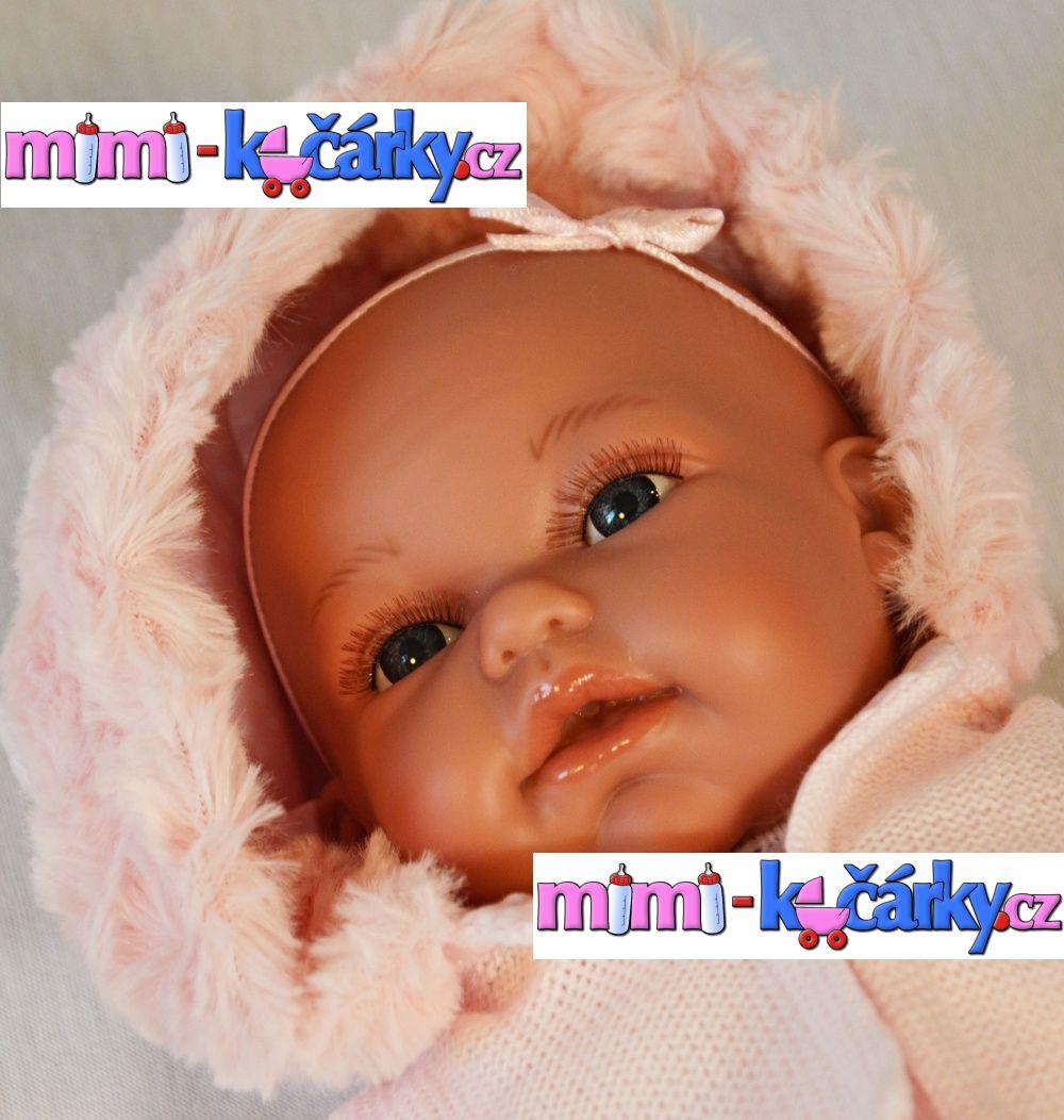 Mluvící panenka jako živá Antonio Juan Toneta 34 cm holčička s kapucí růžová barva oblečku