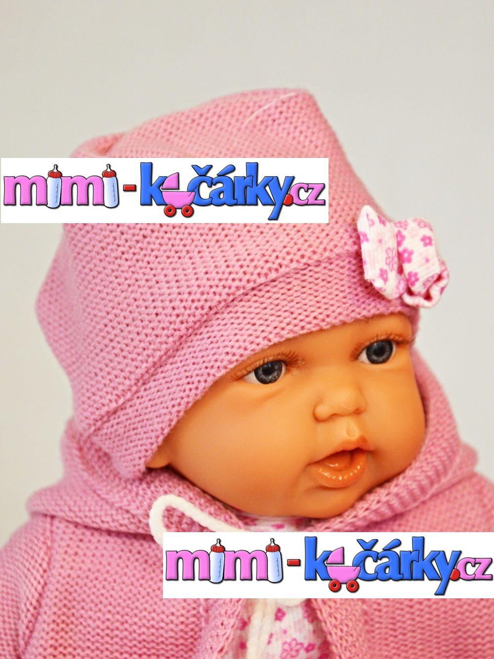 Mluvící realistická panenka Antonio Juan Petty 27 cm holčička ve fialovém svetříku