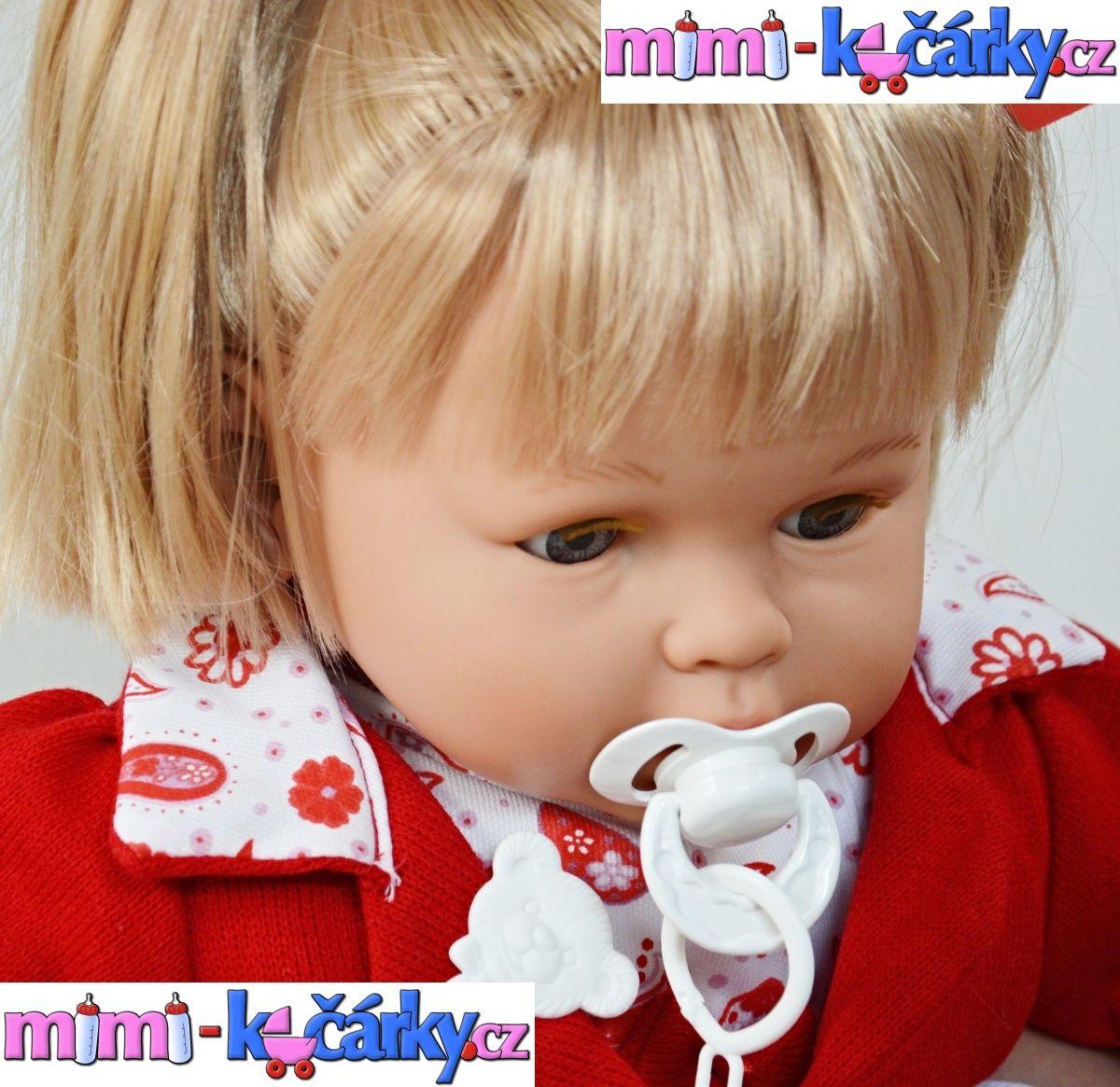 Mrkací panenka velká, mluvící Berbesa Dulsone červené oblečení