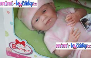 New born panenka Berenguer děvče 38 cm ve fleecovém kompletu