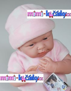 New born miminko Berenguer děvče 38 cm ve fleecovém kompletu