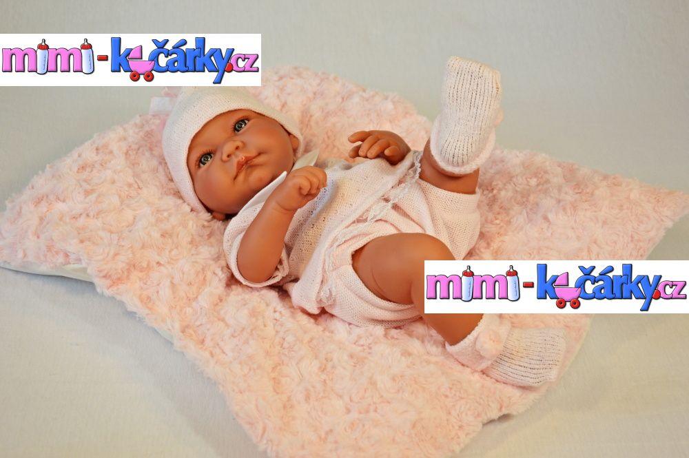 Realistické miminko Antonio Juan Nika holčička s polštářem 42 cm