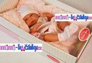 Reborn panenka Antonio Juan Nika holčička s polštářem 42 cm