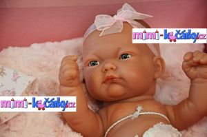 Realistické miminko Antonio Juan Pitus holčička s polštářem 26 cm