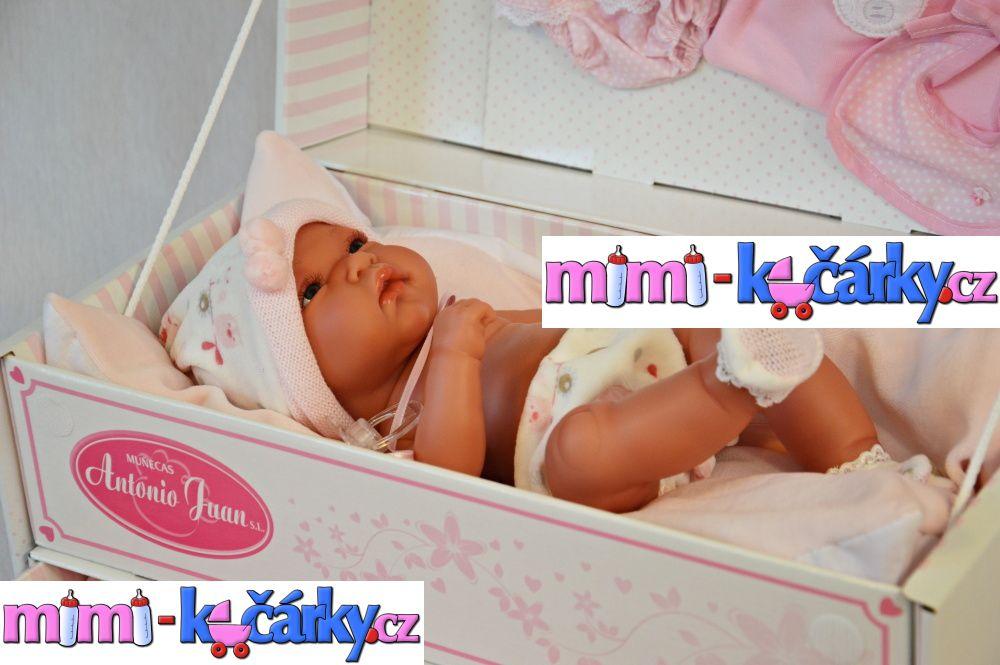 Realistické miminko Antonio Juan Toneta holčička 33 cm s boxovou postýlkou
