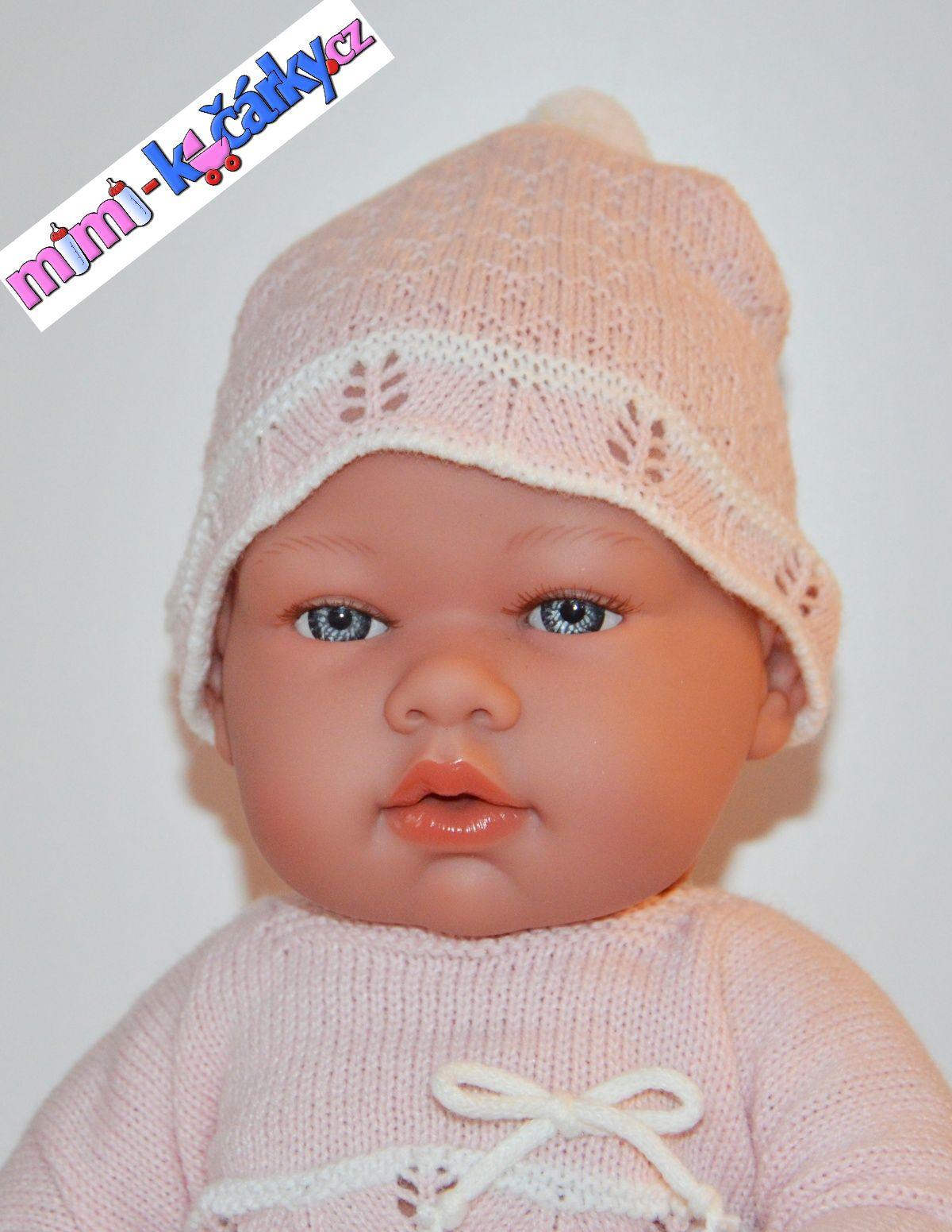 Realistické miminko - panenka Arias v růžových šatech 42cm
