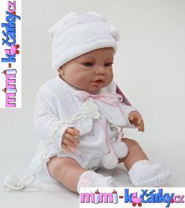 Realistická španělská panenka Angels bílé oblečení 42 cm