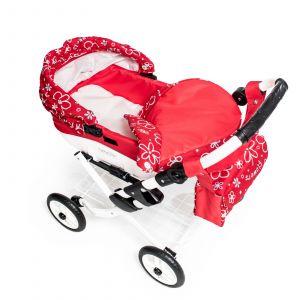 Moderní dětský kočárek na panenky JASMINE Kids K17 červené kvě