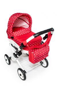 Dětský kočárek na panenky JASMINE Kids K12 červený puntík