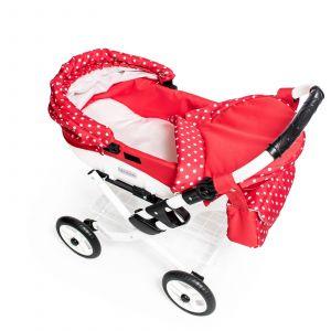 Dětský kočárek pro panenku JASMINE Kids K12 červený puntík
