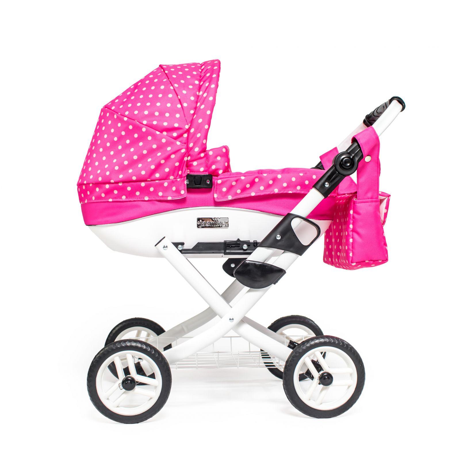 Dětský kočárek pro panenku JASMINE Kids K9 růžový puntík