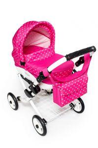 Dětský kočárek pro panenky JASMINE Kids K9 s růžovým puntíkem