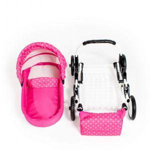 Dětský kočárek pro panenky JASMINE Kids K9 s růžovým puntíkem komplet set