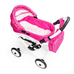 Dětský kočárek pro panenku JASMINE Kids K9 s růžovým puntíkem