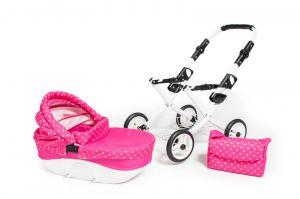 Dětský kočárek pro panenky JASMINE Kids K9 s růžovým puntíkem komplet