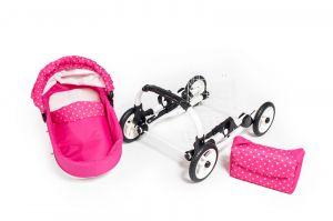Dětský kočárek pro panenky JASMINE Kids K9 s růžovým puntíkem komplet 2
