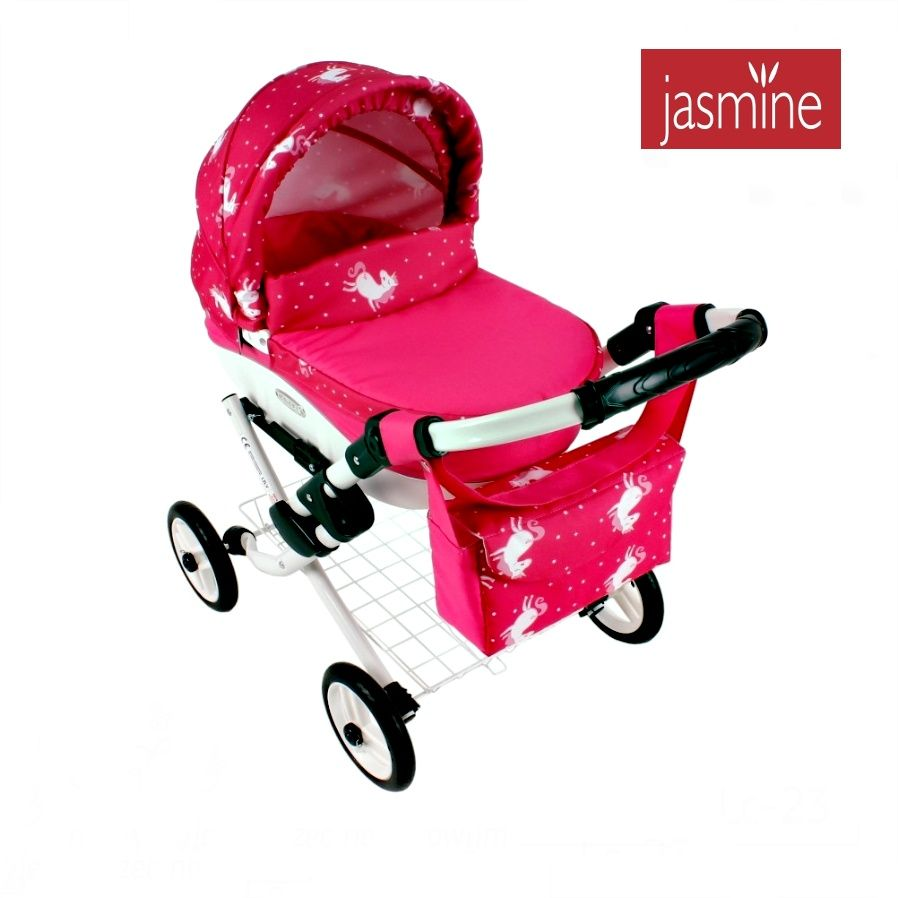 Červený kočárek pro panenky Jasmine Kids 23 jednorožec
