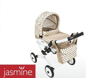 Kočárek pro panenky JASMINE Kids 10 béžový puntík