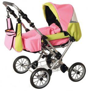růžovo-limetkový kočárek pro panenky kombinovaný