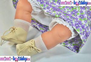 Mluvící, mrkací realistická panenka Berbesa Dulsone fialový svetřík 62 cm kočárky a realistické panenky