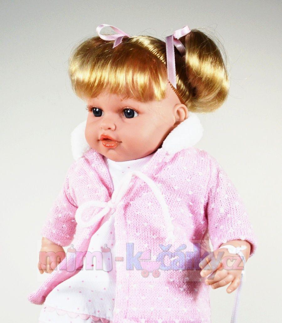 Plačící panenka realistická Arias Ema v růžovém 33 cm