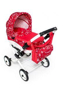 Velký dětský kočárek pro panenky JASMINE Kids K17 červené kvě