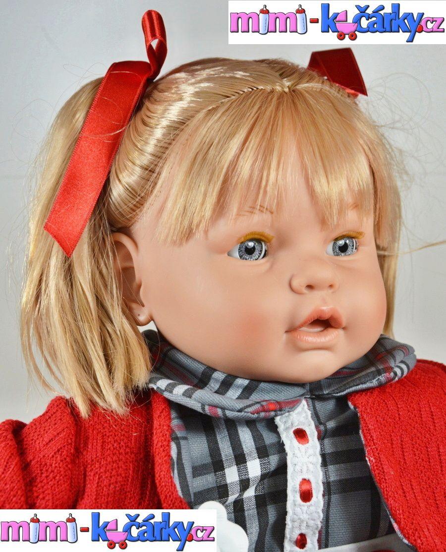 Velká mrkací a mluvící panenka Berbesa Dulsone červený svetřík 62 cm