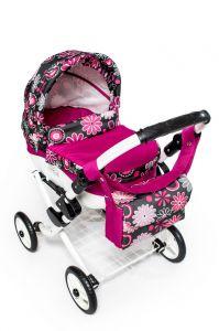 Dětský kočárek pro panenky JASMINE Kids K19 růžový květ