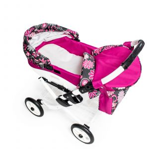 Velký dětský kočárek pro panenky JASMINE Kids K19 růžové květy
