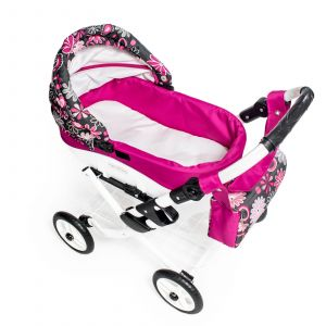 Moderní dětský kočárek pro panenky JASMINE Kids K19 růžové květy