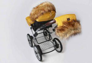 Zimní fusak do kočárku s kožíškem hnědá JASMINE